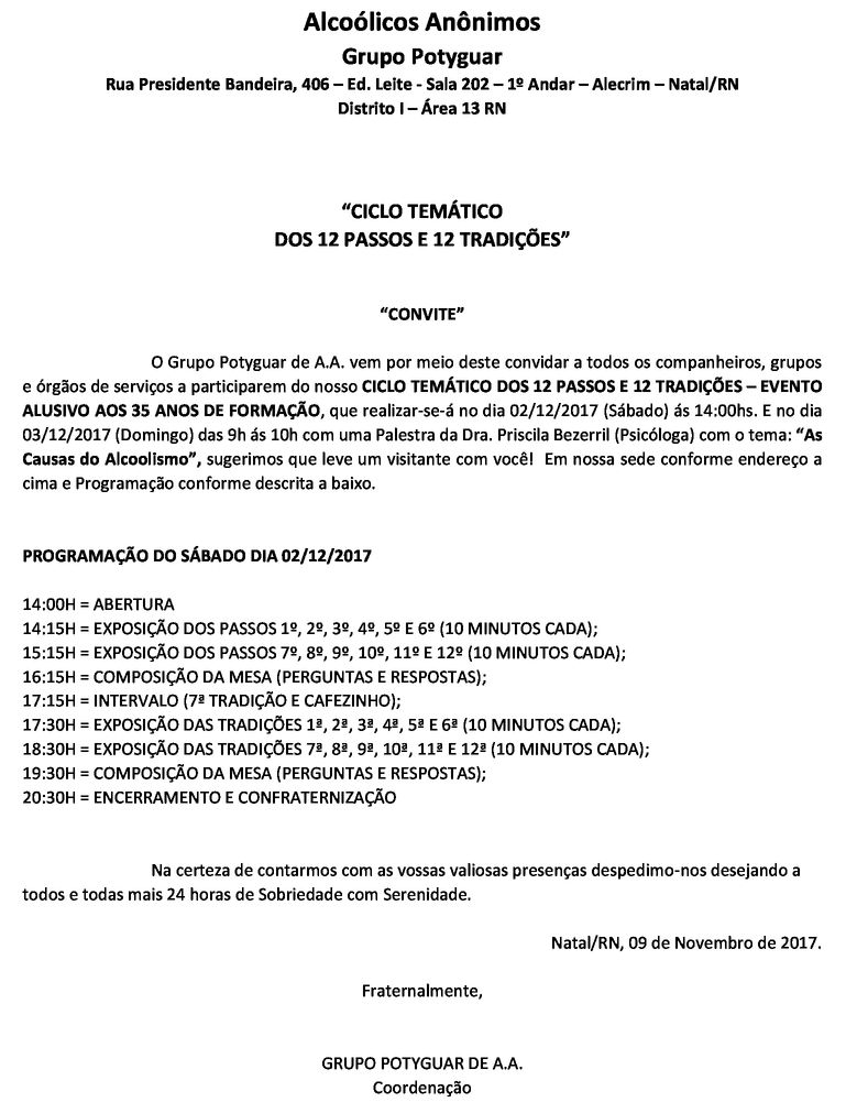 1° Ciclo dos 12 Passos e 12 Tradições do Grupo Potyguar de A.A.